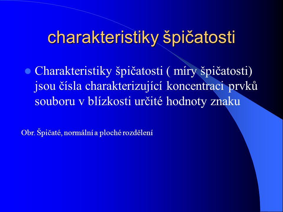charakteristiky špičatosti Charakteristiky špičatosti ( míry špičatosti) jsou čísla charakterizující koncentraci prvků souboru v blízkosti určité hodn