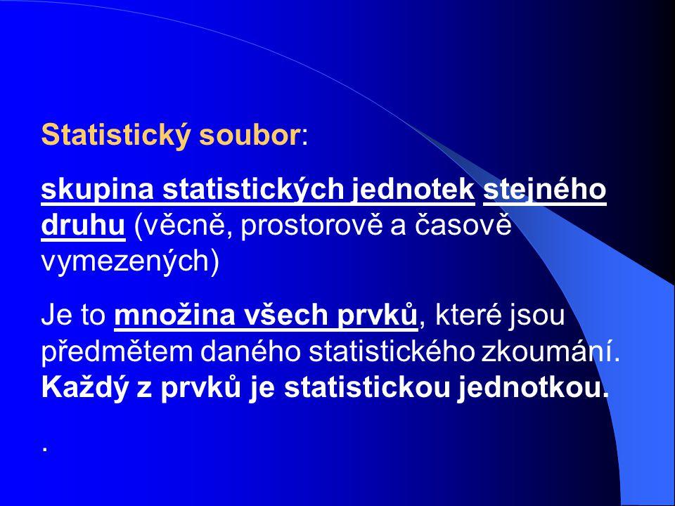 Statistický soubor: skupina statistických jednotek stejného druhu (věcně, prostorově a časově vymezených) Je to množina všech prvků, které jsou předmě
