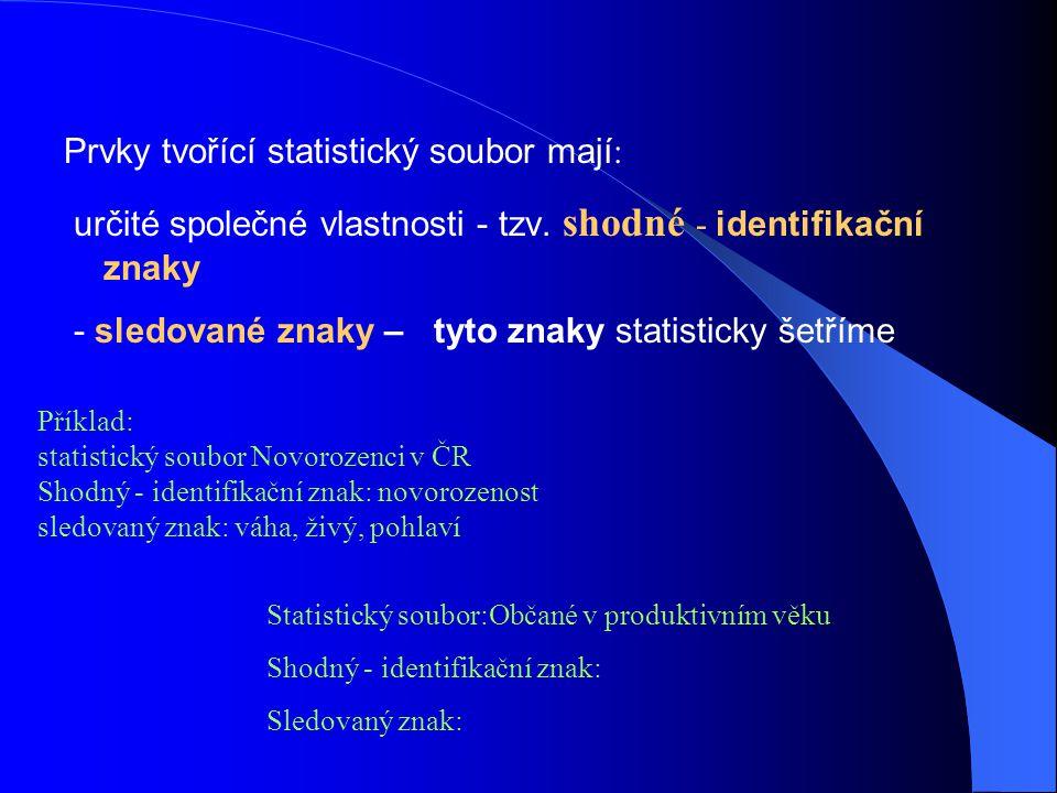 Prvky tvořící statistický soubor mají : určité společné vlastnosti - tzv. shodné - identifikační znaky - sledované znaky – tyto znaky statisticky šetř