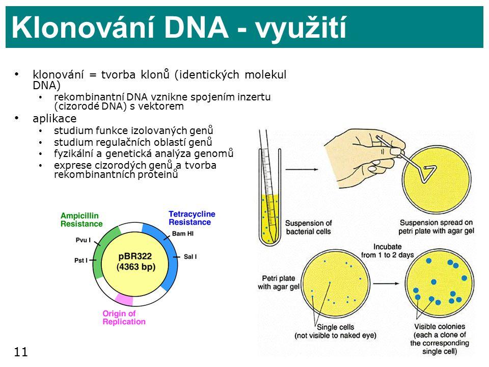 11 Klonování DNA - využití klonování = tvorba klonů (identických molekul DNA) rekombinantní DNA vznikne spojením inzertu (cizorodé DNA) s vektorem aplikace studium funkce izolovaných genů studium regulačních oblastí genů fyzikální a genetická analýza genomů exprese cizorodých genů a tvorba rekombinantních proteinů
