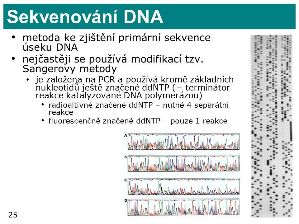25 Sekvenování DNA metoda ke zjištění primární sekvence úseku DNA nejčastěji se používá modifikací tzv.