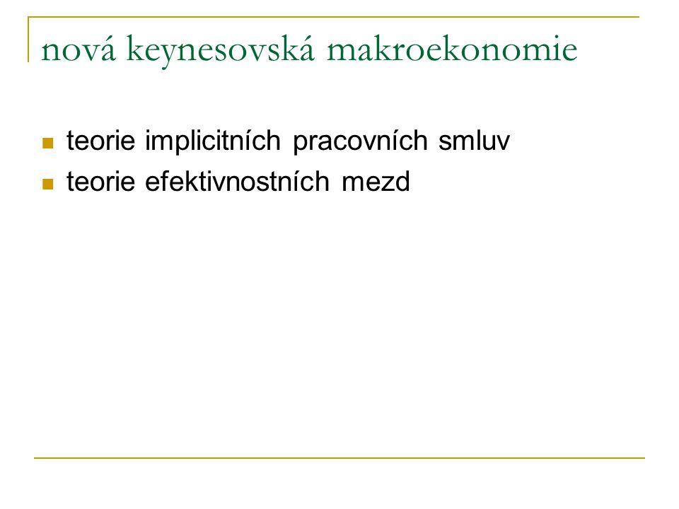 nová keynesovská makroekonomie teorie implicitních pracovních smluv teorie efektivnostních mezd