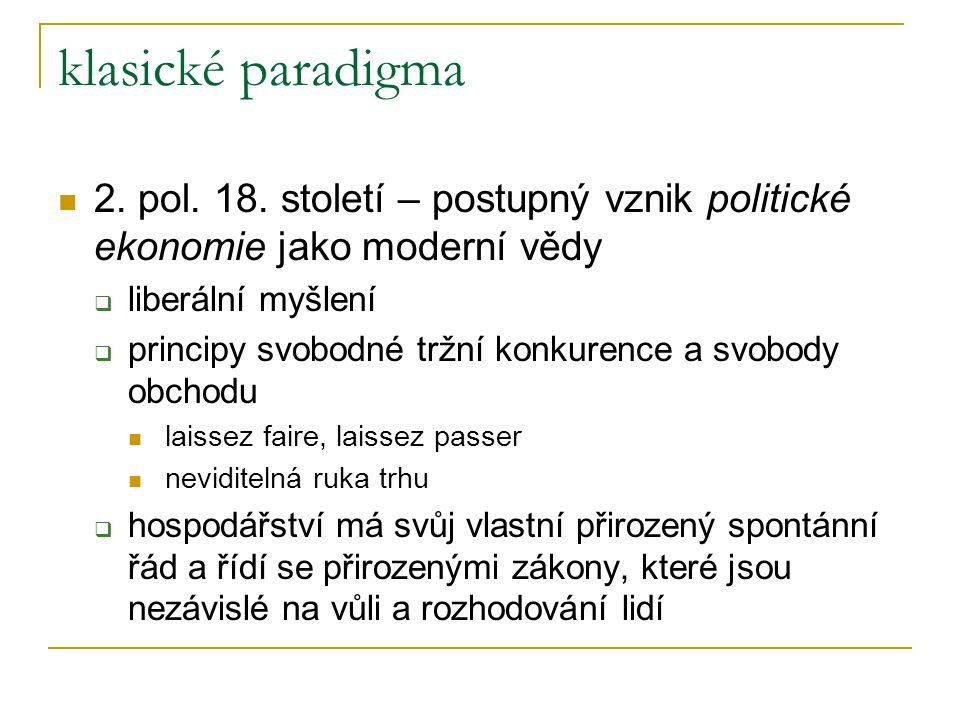 klasické paradigma 2. pol. 18. století – postupný vznik politické ekonomie jako moderní vědy  liberální myšlení  principy svobodné tržní konkurence