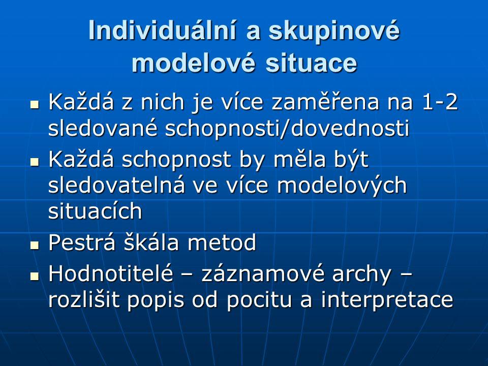 Individuální a skupinové modelové situace Každá z nich je více zaměřena na 1-2 sledované schopnosti/dovednosti Každá z nich je více zaměřena na 1-2 sl