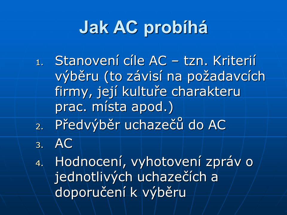 Jak AC probíhá 1. Stanovení cíle AC – tzn. Kriterií výběru (to závisí na požadavcích firmy, její kultuře charakteru prac. místa apod.) 2. Předvýběr uc