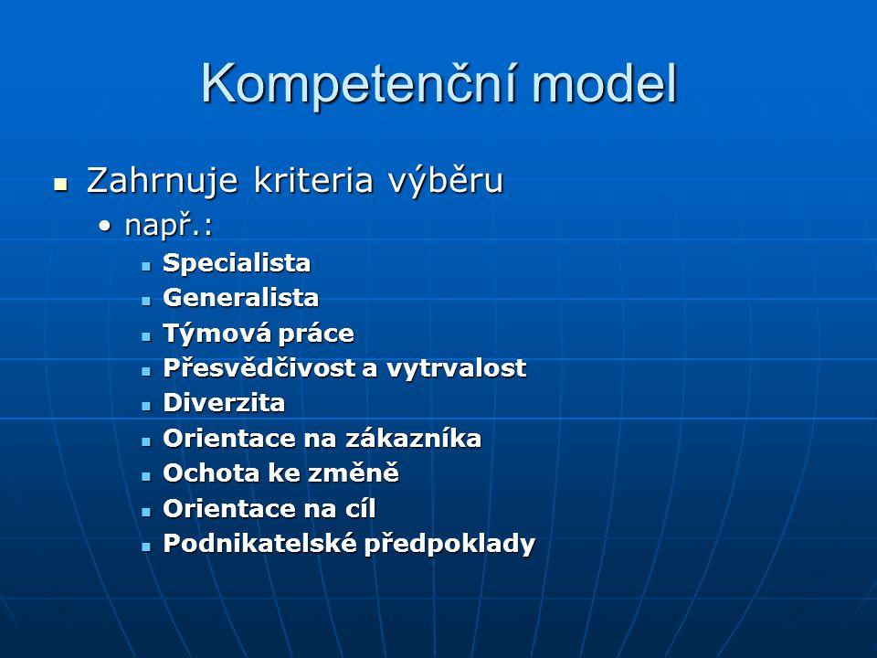 Kompetenční model Zahrnuje kriteria výběru Zahrnuje kriteria výběru např.:např.: Specialista Specialista Generalista Generalista Týmová práce Týmová p