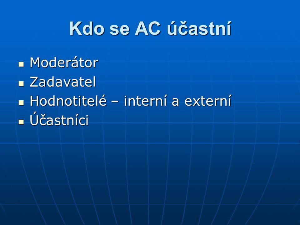 Kdo se AC účastní Moderátor Moderátor Zadavatel Zadavatel Hodnotitelé – interní a externí Hodnotitelé – interní a externí Účastníci Účastníci
