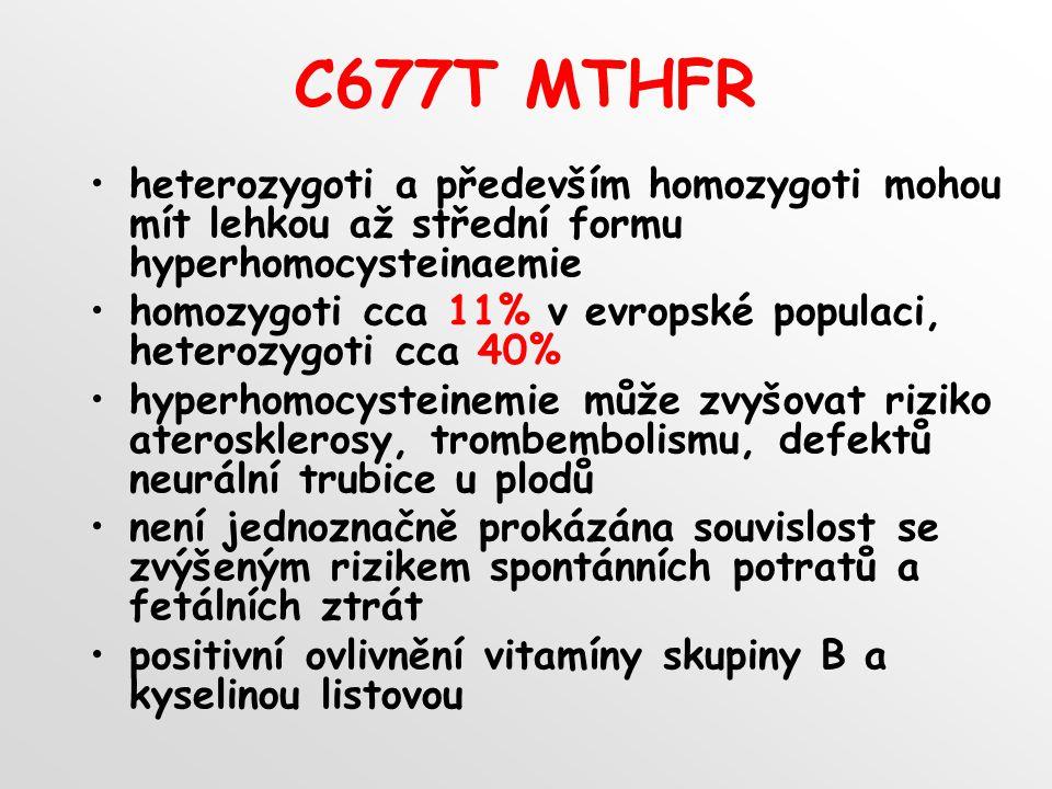 C677T MTHFR heterozygoti a především homozygoti mohou mít lehkou až střední formu hyperhomocysteinaemie homozygoti cca 11% v evropské populaci, heterozygoti cca 40% hyperhomocysteinemie může zvyšovat riziko aterosklerosy, trombembolismu, defektů neurální trubice u plodů není jednoznačně prokázána souvislost se zvýšeným rizikem spontánních potratů a fetálních ztrát positivní ovlivnění vitamíny skupiny B a kyselinou listovou