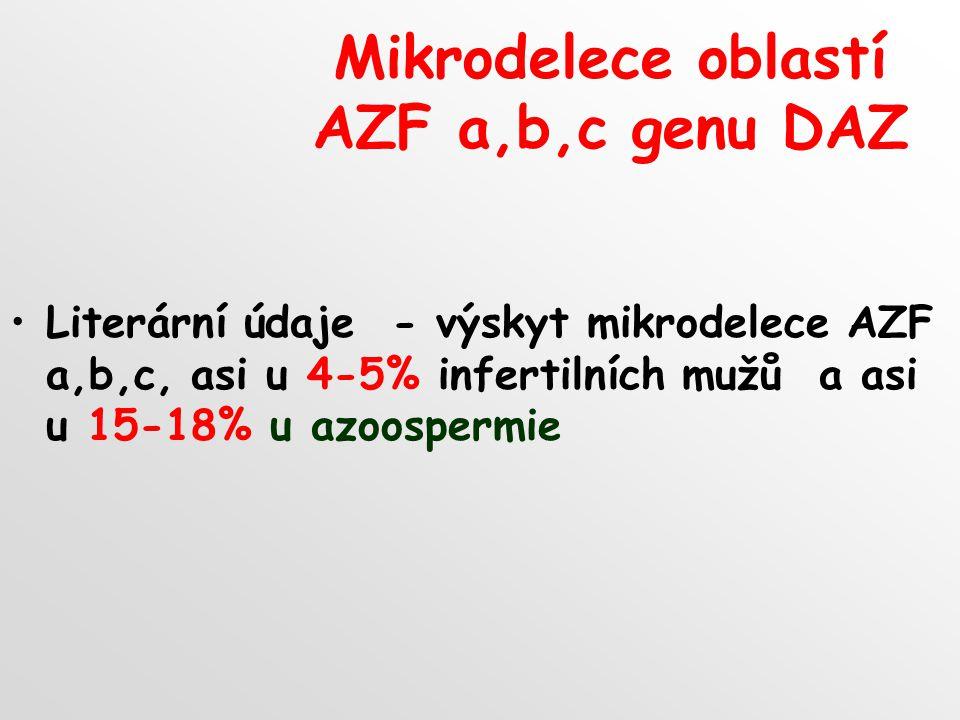 Mikrodelece oblastí AZF a,b,c genu DAZ Literární údaje - výskyt mikrodelece AZF a,b,c, asi u 4-5% infertilních mužů a asi u 15-18% u azoospermie