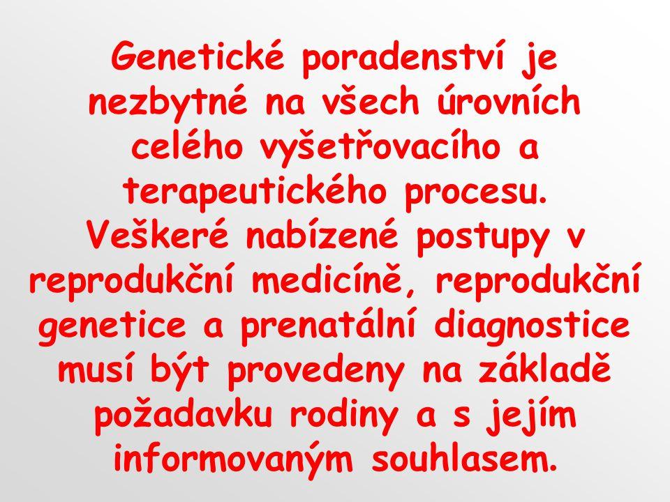 Genetické poradenství je nezbytné na všech úrovních celého vyšetřovacího a terapeutického procesu. Veškeré nabízené postupy v reprodukční medicíně, re