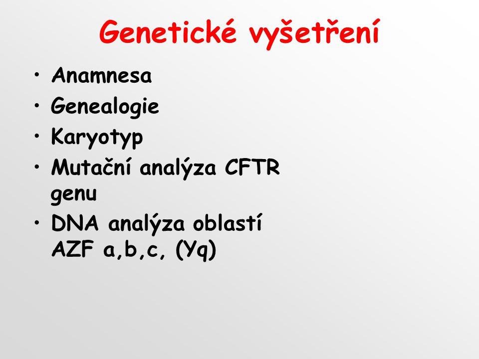 Genetické vyšetření Anamnesa Genealogie Karyotyp Mutační analýza CFTR genu DNA analýza oblastí AZF a,b,c, (Yq)