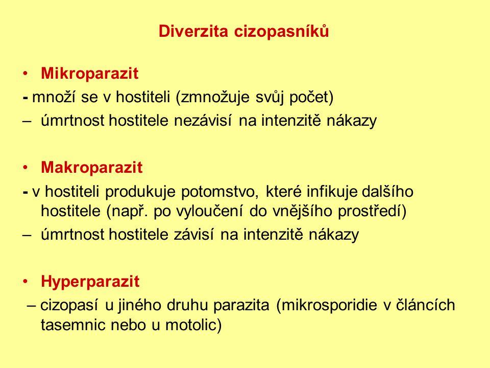 Mikroparazit - množí se v hostiteli (zmnožuje svůj počet) – úmrtnost hostitele nezávisí na intenzitě nákazy Makroparazit - v hostiteli produkuje potomstvo, které infikuje dalšího hostitele (např.