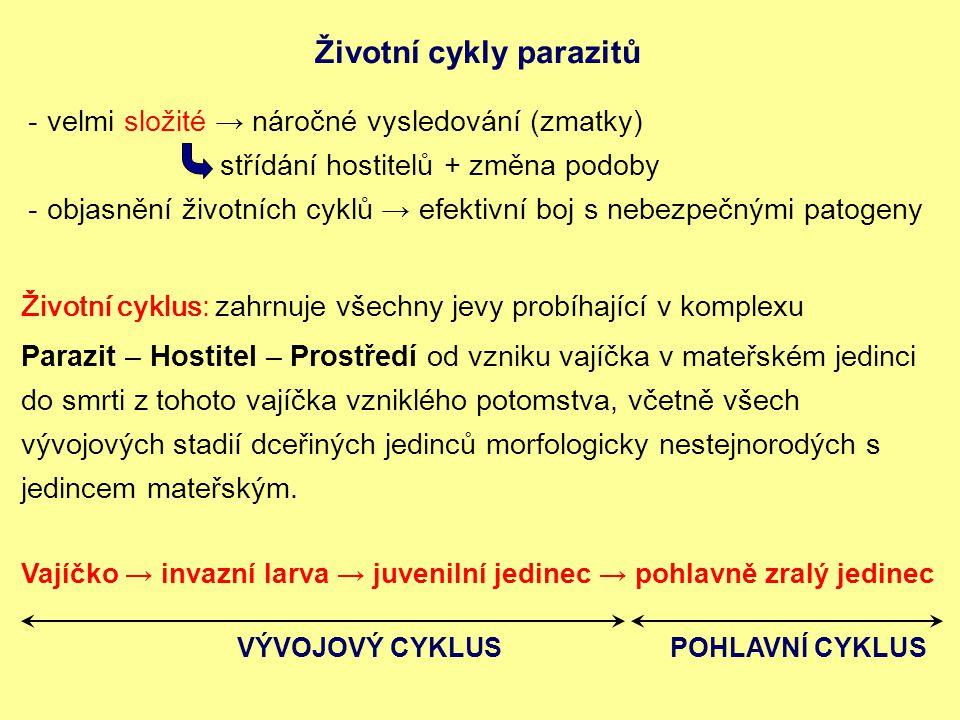 Životní cykly parazitů -velmi složité → náročné vysledování (zmatky) střídání hostitelů + změna podoby -objasnění životních cyklů → efektivní boj s nebezpečnými patogeny Životní cyklus: zahrnuje všechny jevy probíhající v komplexu Parazit – Hostitel – Prostředí od vzniku vajíčka v mateřském jedinci do smrti z tohoto vajíčka vzniklého potomstva, včetně všech vývojových stadií dceřiných jedinců morfologicky nestejnorodých s jedincem mateřským.
