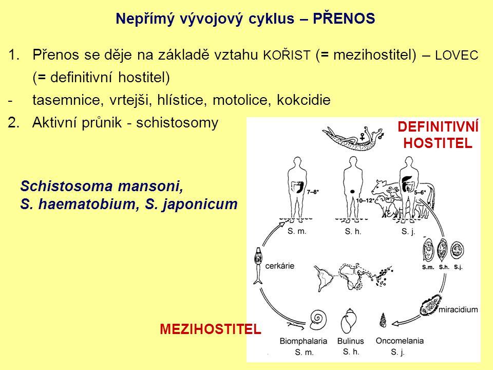 Nepřímý vývojový cyklus – PŘENOS 1.Přenos se děje na základě vztahu KOŘIST (= mezihostitel) – LOVEC (= definitivní hostitel) -tasemnice, vrtejši, hlístice, motolice, kokcidie 2.