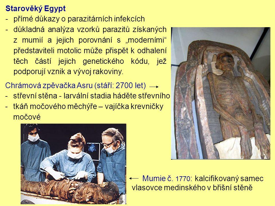 """Chrámová zpěvačka Asru (stáří: 2700 let) -střevní stěna - larvální stadia háděte střevního -tkáň močového měchýře – vajíčka krevničky močové Starověký Egypt -přímé důkazy o parazitárních infekcích - důkladná analýza vzorků parazitů získaných z mumií a jejich porovnání s """"moderními představiteli motolic může přispět k odhalení těch částí jejich genetického kódu, jež podporují vznik a vývoj rakoviny."""