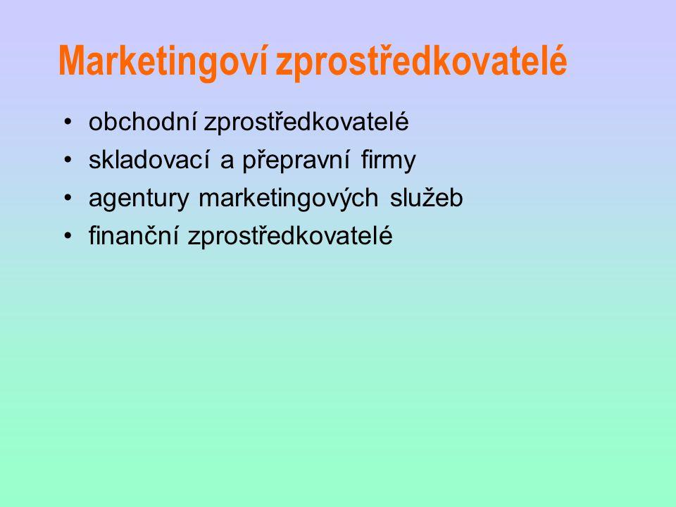 Marketingoví zprostředkovatelé obchodní zprostředkovatelé skladovací a přepravní firmy agentury marketingových služeb finanční zprostředkovatelé