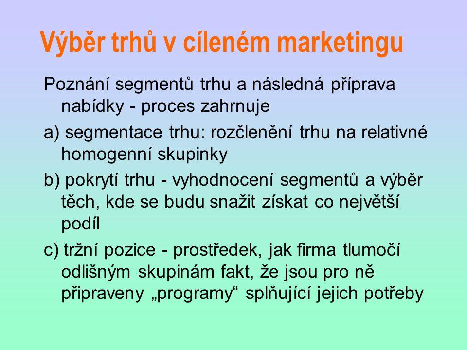Výběr trhů v cíleném marketingu Poznání segmentů trhu a následná příprava nabídky - proces zahrnuje a) segmentace trhu: rozčlenění trhu na relativné h