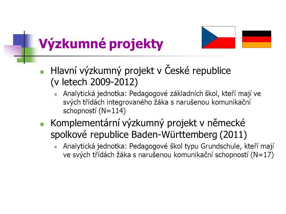 Výzkumné projekty Hlavní výzkumný projekt v České republice (v letech 2009-2012) Analytická jednotka: Pedagogové základních škol, kteří mají ve svých