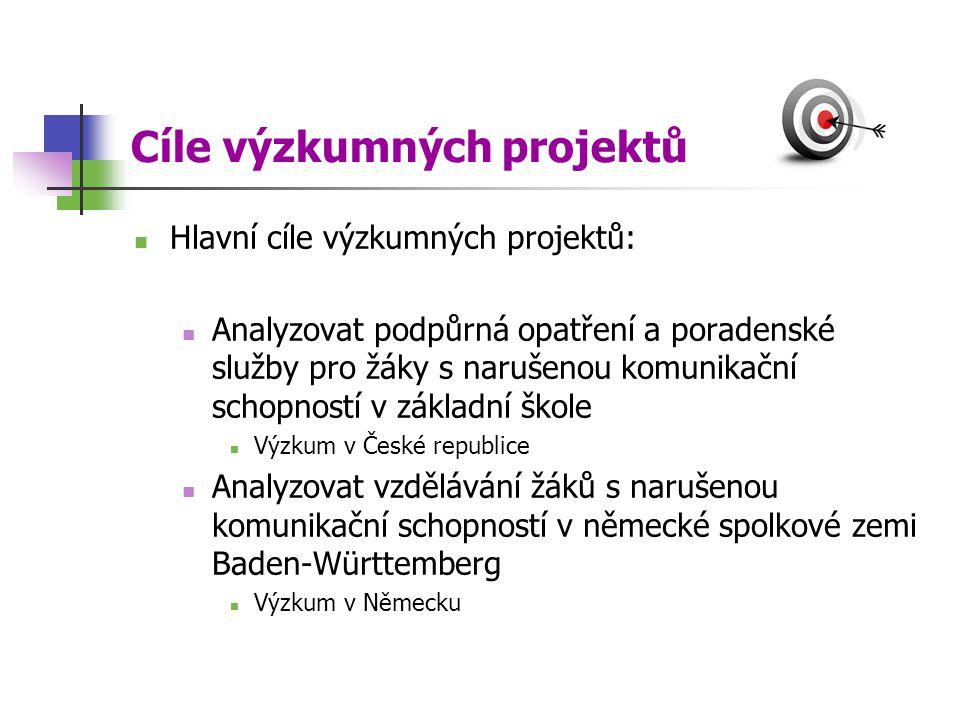 Cíle výzkumných projektů Hlavní cíle výzkumných projektů: Analyzovat podpůrná opatření a poradenské služby pro žáky s narušenou komunikační schopností