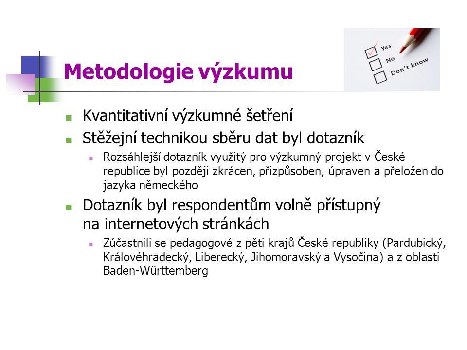 Metodologie výzkumu Kvantitativní výzkumné šetření Stěžejní technikou sběru dat byl dotazník Rozsáhlejší dotazník využitý pro výzkumný projekt v České