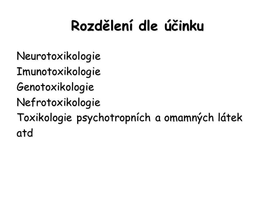 Rozdělení dle účinku NeurotoxikologieImunotoxikologieGenotoxikologieNefrotoxikologie Toxikologie psychotropních a omamných látek atd