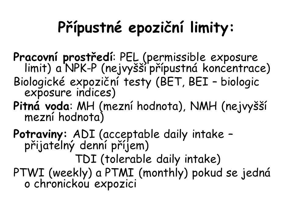 Přípustné epoziční limity: Pracovní prostředí: PEL (permissible exposure limit) a NPK-P (nejvyšší přípustná koncentrace) Biologické expoziční testy (BET, BEI – biologic exposure indices) Pitná voda: MH (mezní hodnota), NMH (nejvyšší mezní hodnota) Potraviny: ADI (acceptable daily intake – přijatelný denní příjem) TDI (tolerable daily intake) PTWI (weekly) a PTMI (monthly) pokud se jedná o chronickou expozici