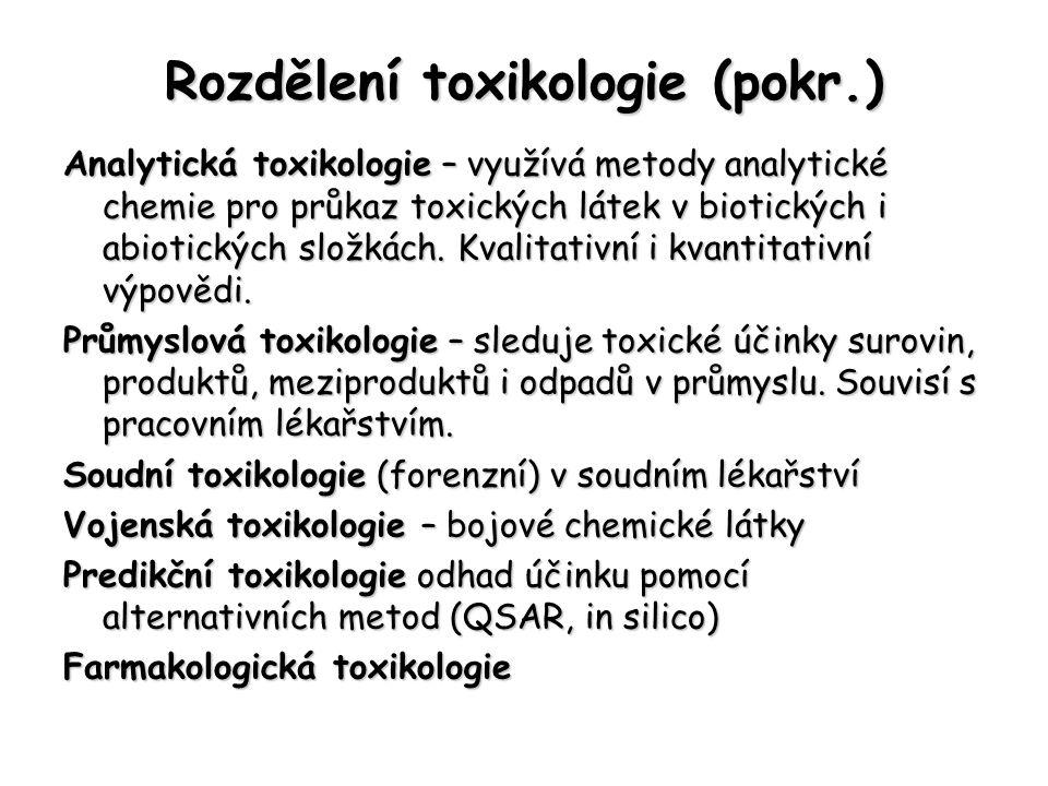 Rozdělení toxikologie (pokr.) Analytická toxikologie – využívá metody analytické chemie pro průkaz toxických látek v biotických i abiotických složkách.