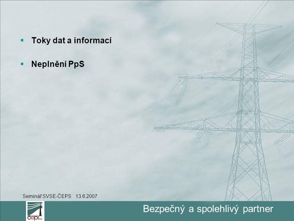 Bezpečný a spolehlivý partner  Toky dat a informací  Neplnění PpS Seminář SVSE-ČEPS 13.6.2007