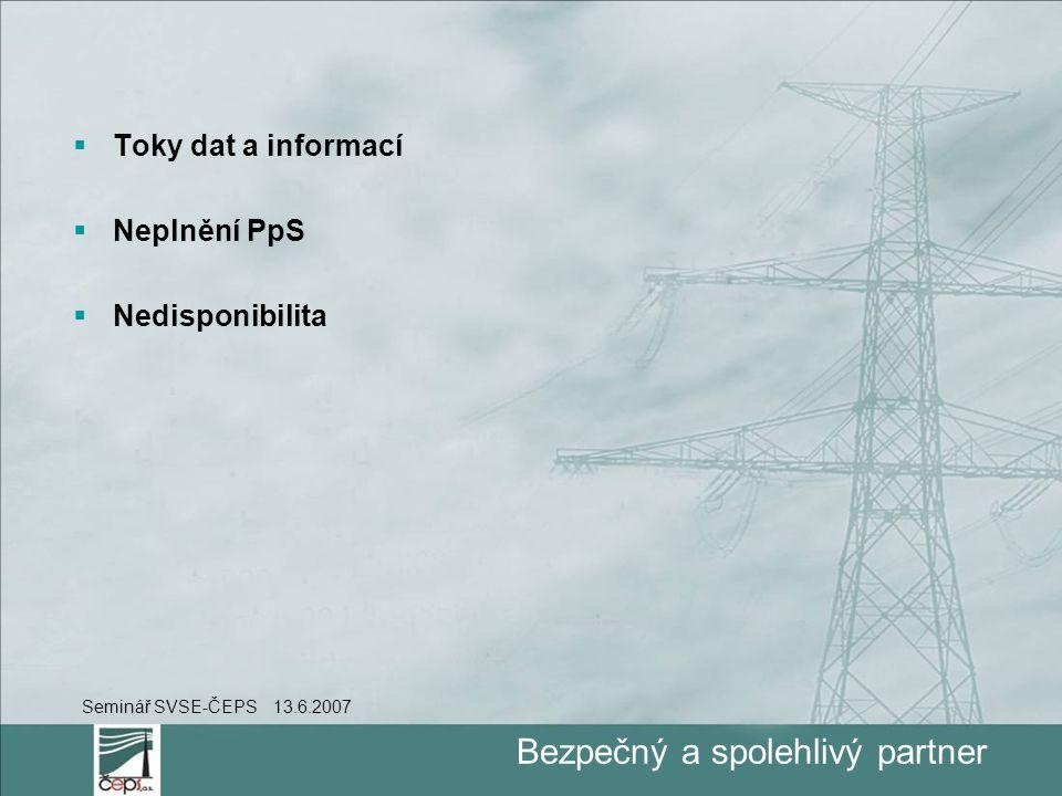 Bezpečný a spolehlivý partner  Toky dat a informací  Neplnění PpS  Nedisponibilita Seminář SVSE-ČEPS 13.6.2007