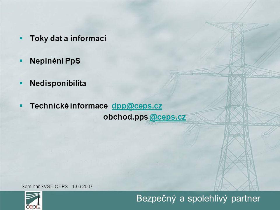 Bezpečný a spolehlivý partner  Toky dat a informací  Neplnění PpS  Nedisponibilita  Technické informace dpp@ceps.czdpp@ceps.cz obchod.pps @ceps.cz@ceps.cz Seminář SVSE-ČEPS 13.6.2007