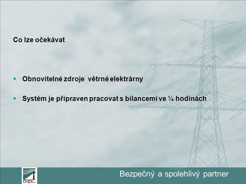 Bezpečný a spolehlivý partner Co lze očekávat  Obnovitelné zdroje větrné elektrárny  Systém je připraven pracovat s bilancemi ve ¼ hodinách