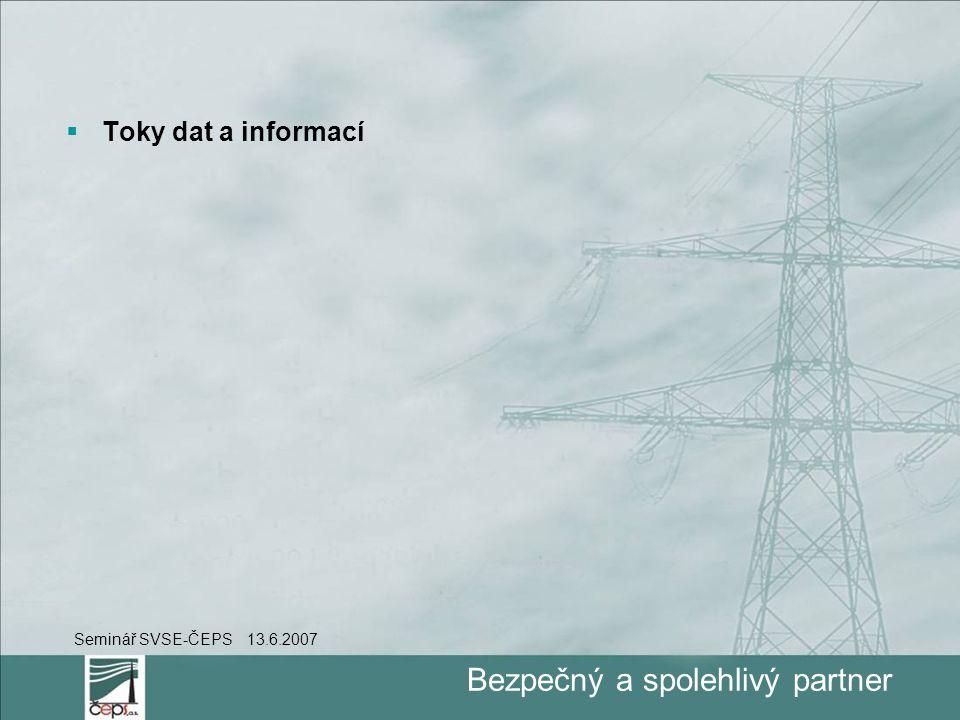 Bezpečný a spolehlivý partner  Toky dat a informací Seminář SVSE-ČEPS 13.6.2007