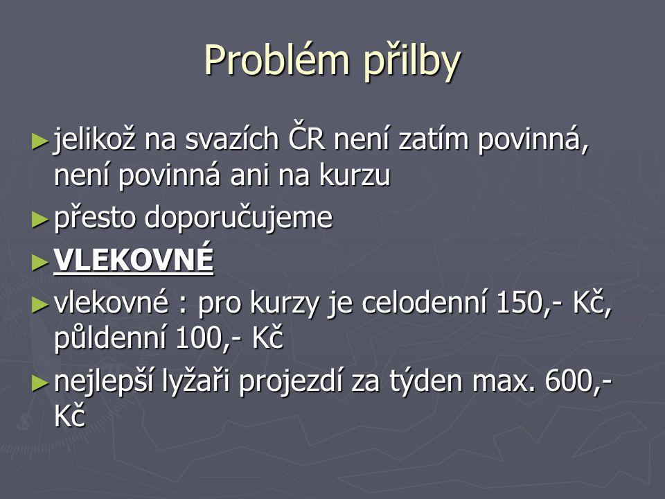 Problém přilby ► jelikož na svazích ČR není zatím povinná, není povinná ani na kurzu ► přesto doporučujeme ► VLEKOVNÉ ► vlekovné : pro kurzy je celode
