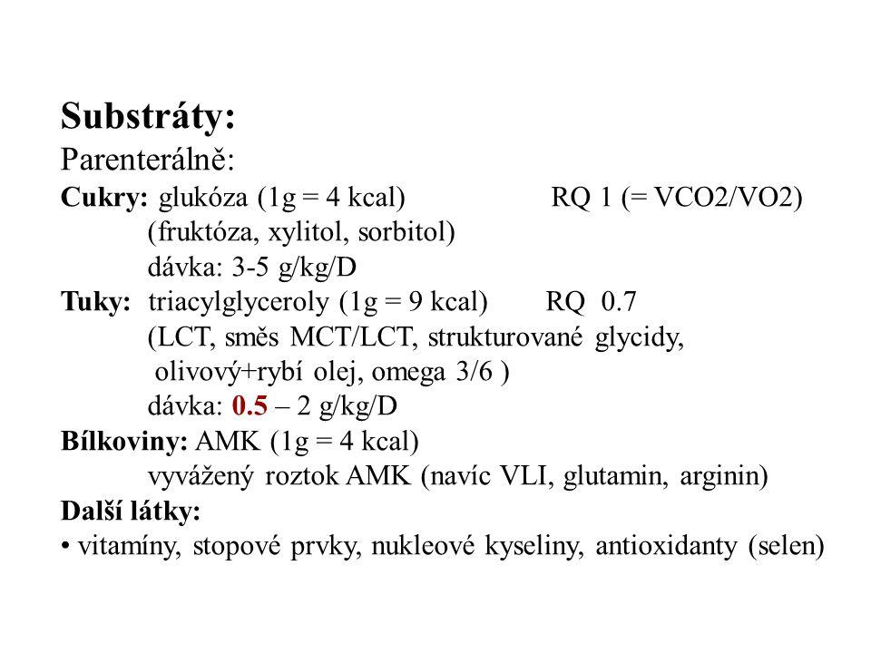 Substráty: Parenterálně: Cukry: glukóza (1g = 4 kcal) RQ 1 (= VCO2/VO2) (fruktóza, xylitol, sorbitol) dávka: 3-5 g/kg/D Tuky: triacylglyceroly (1g = 9 kcal) RQ 0.7 (LCT, směs MCT/LCT, strukturované glycidy, olivový+rybí olej, omega 3/6 ) dávka: 0.5 – 2 g/kg/D Bílkoviny: AMK (1g = 4 kcal) vyvážený roztok AMK (navíc VLI, glutamin, arginin) Další látky: vitamíny, stopové prvky, nukleové kyseliny, antioxidanty (selen)