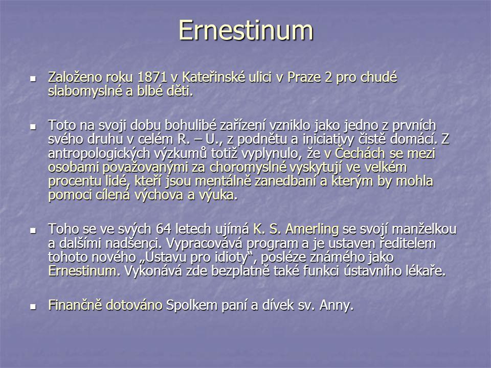 Ernestinum Založeno roku 1871 v Kateřinské ulici v Praze 2 pro chudé slabomyslné a blbé děti. Založeno roku 1871 v Kateřinské ulici v Praze 2 pro chud