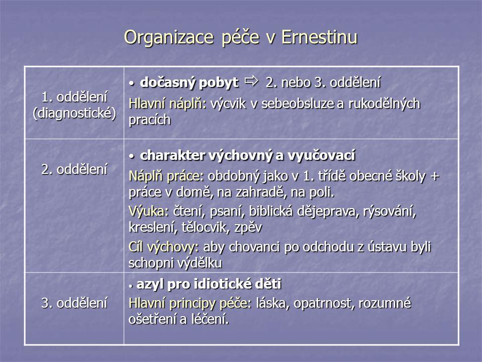 Organizace péče v Ernestinu 1. oddělení (diagnostické) dočasný pobyt  2. nebo 3. oddělení dočasný pobyt  2. nebo 3. oddělení Hlavní náplň: výcvik v