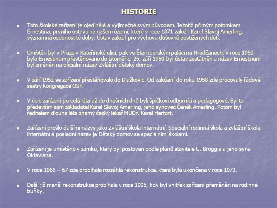 HISTORIE HISTORIE Toto školské zařízení je ojedinělé a výjimečné svým původem. Je totiž přímým potomkem Ernestina, prvního ústavu na našem území, kter