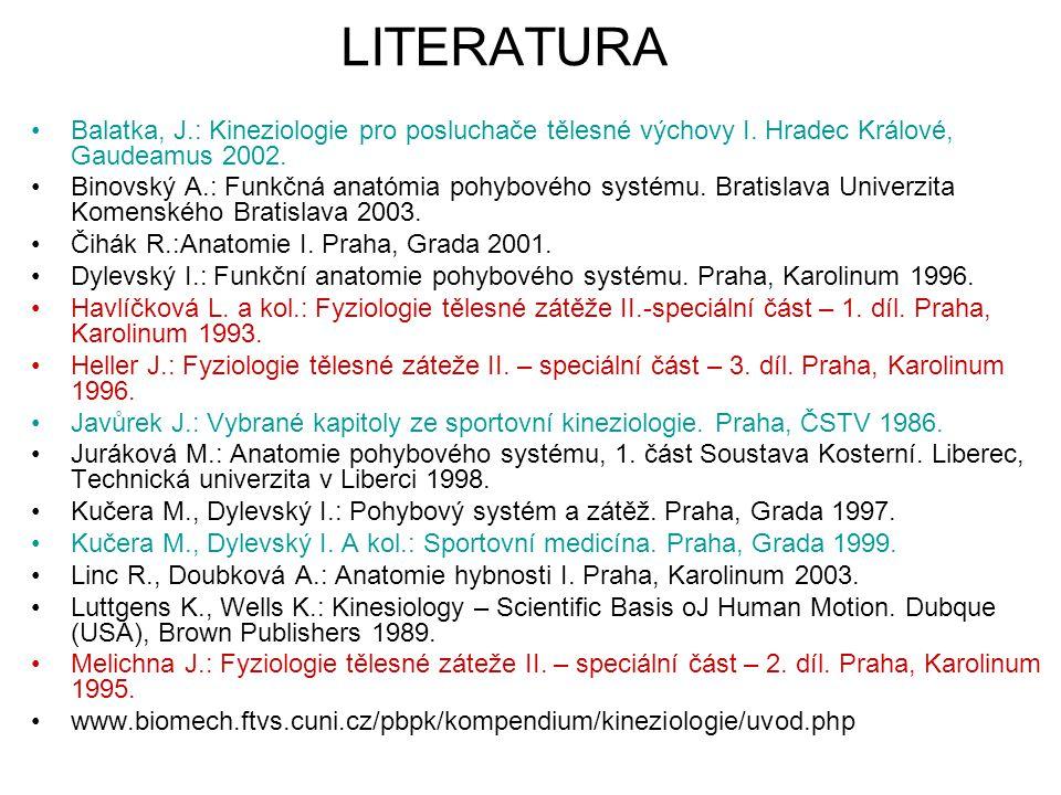 LITERATURA Balatka, J.: Kineziologie pro posluchače tělesné výchovy I. Hradec Králové, Gaudeamus 2002. Binovský A.: Funkčná anatómia pohybového systém
