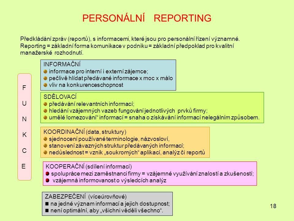 18 PERSONÁLNÍ REPORTING Předkládání zpráv (reportů), s informacemi, které jsou pro personální řízení významné.