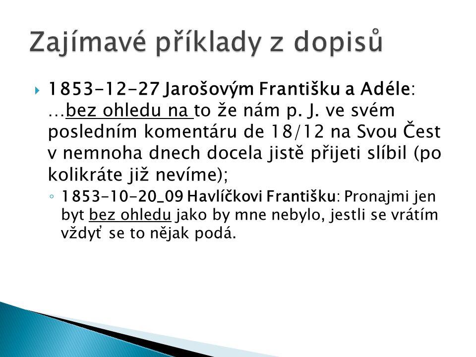  1853-12-27 Jarošovým Františku a Adéle: …bez ohledu na to že nám p. J. ve svém posledním komentáru de 18/12 na Svou Čest v nemnoha dnech docela jist