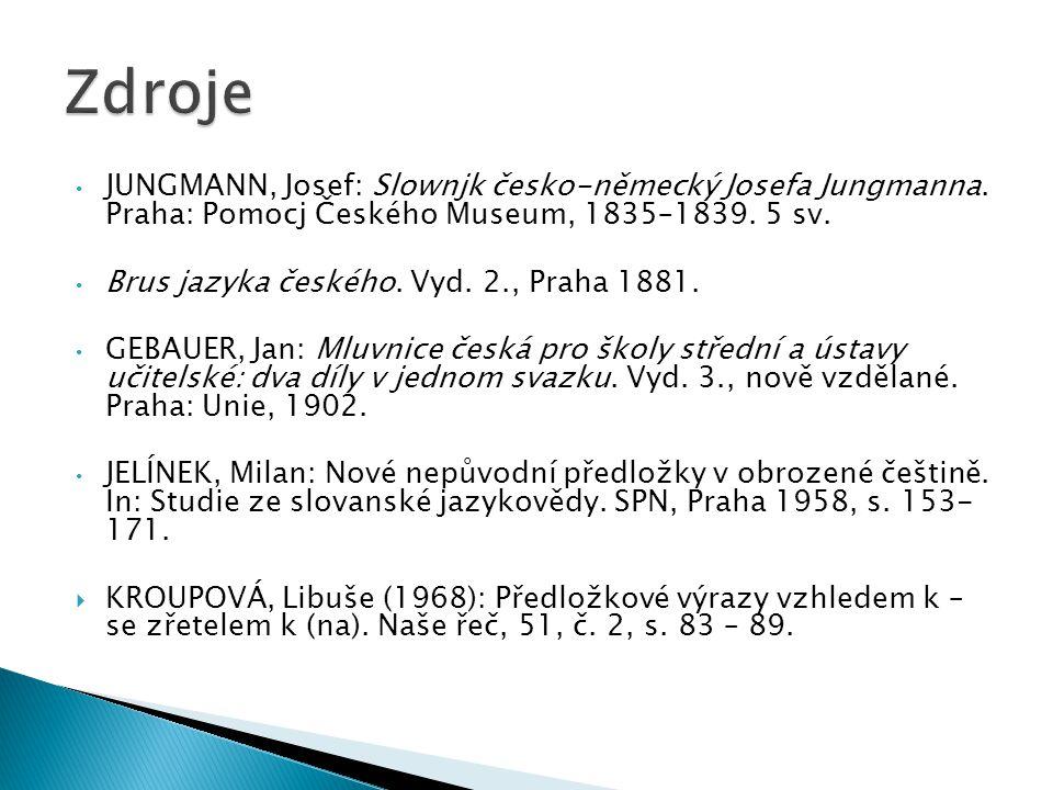 JUNGMANN, Josef: Slownjk česko-německý Josefa Jungmanna. Praha: Pomocj Českého Museum, 1835–1839. 5 sv. Brus jazyka českého. Vyd. 2., Praha 1881. GEBA
