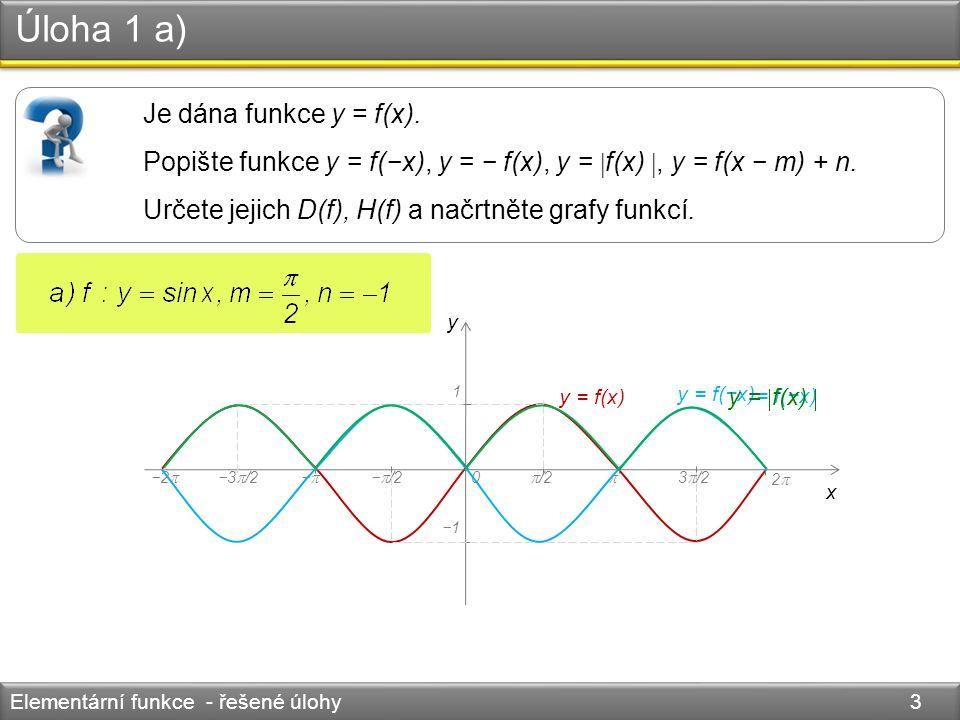 Úloha 1 a) Elementární funkce - řešené úlohy 3 Je dána funkce y = f(x). Popište funkce y = f(−x), y = − f(x), y =  f(x) , y = f(x − m) + n. Určete j