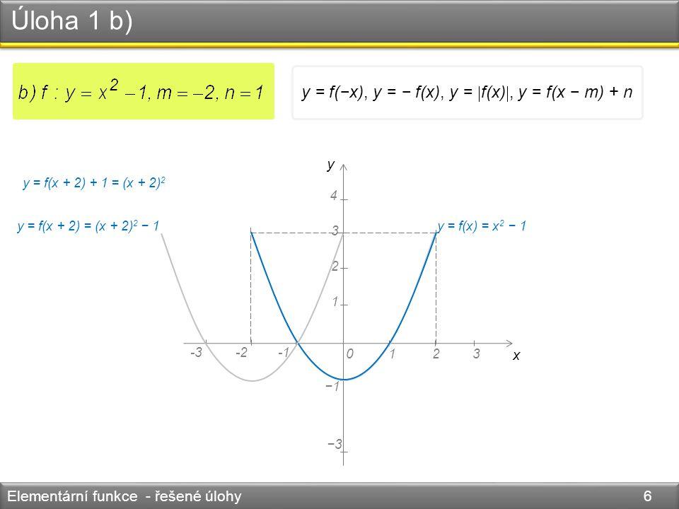 Úloha 1 b) Elementární funkce - řešené úlohy 6 y = f(x) = x 2 − 1 y x 0123 4 1 2 3 -3-2 −1 −3 y = f(x + 2) = (x + 2) 2 − 1 y = f(x + 2) + 1 = (x + 2)