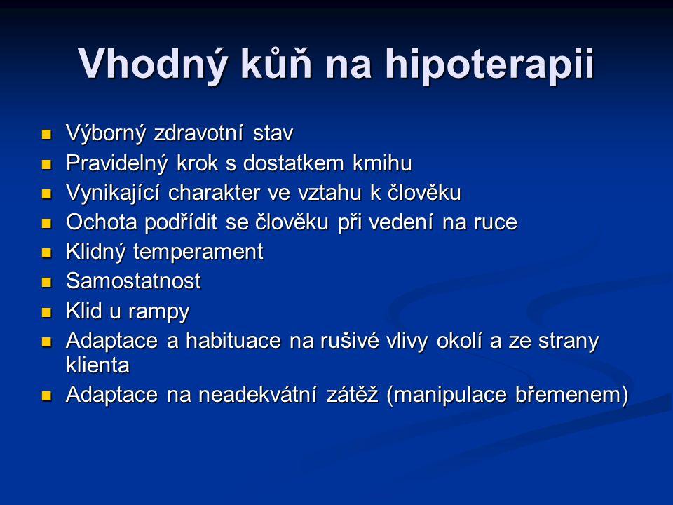 Vhodný kůň na hipoterapii Výborný zdravotní stav Výborný zdravotní stav Pravidelný krok s dostatkem kmihu Pravidelný krok s dostatkem kmihu Vynikající