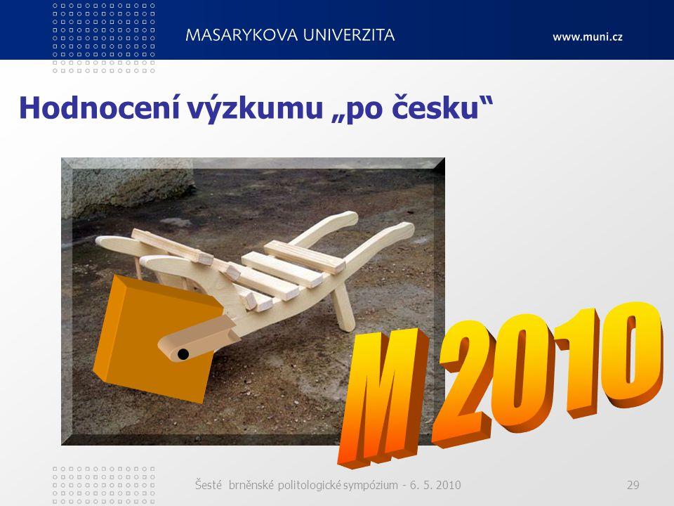 """Šesté brněnské politologické sympózium - 6. 5. 201029 Hodnocení výzkumu """"po česku"""