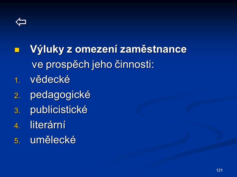 121  Výluky z omezení zaměstnance Výluky z omezení zaměstnance ve prospěch jeho činnosti: ve prospěch jeho činnosti: 1. vědecké 2. pedagogické 3. pub
