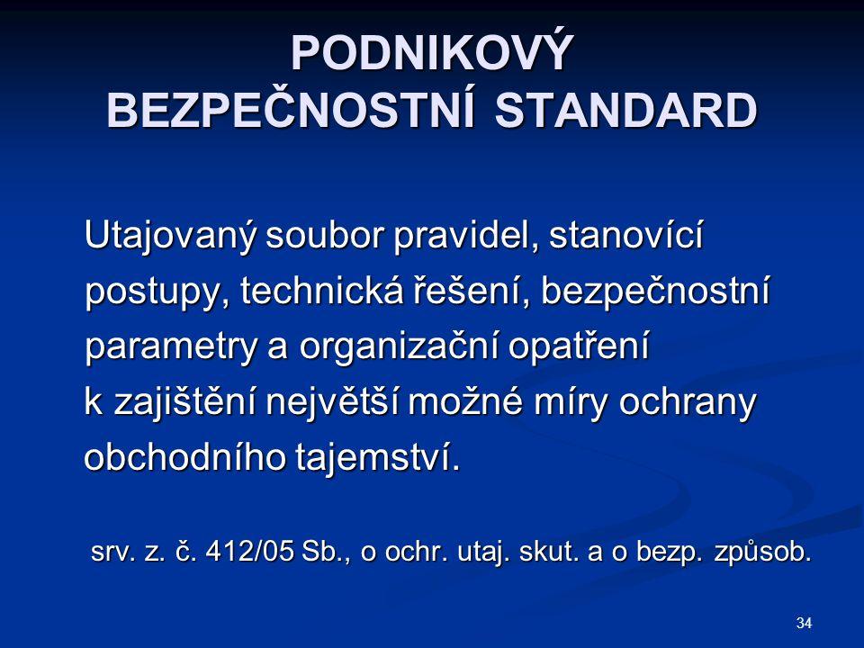 34 PODNIKOVÝ BEZPEČNOSTNÍ STANDARD Utajovaný soubor pravidel, stanovící postupy, technická řešení, bezpečnostní parametry a organizační opatření Utajo
