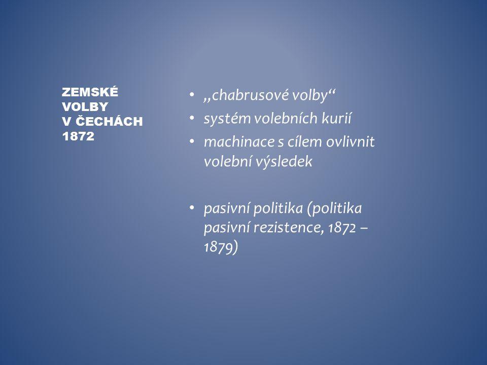 """""""chabrusové volby"""" systém volebních kurií machinace s cílem ovlivnit volební výsledek pasivní politika (politika pasivní rezistence, 1872 – 1879) ZEMS"""