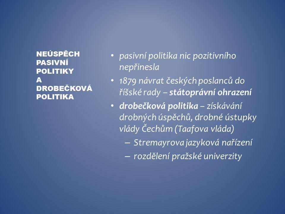 pasivní politika nic pozitivního nepřinesla 1879 návrat českých poslanců do říšské rady – státoprávní ohrazení drobečková politika – získávání drobnýc