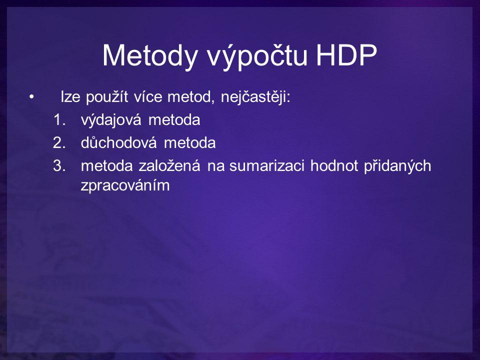 Metody výpočtu HDP lze použít více metod, nejčastěji: 1.výdajová metoda 2.důchodová metoda 3.metoda založená na sumarizaci hodnot přidaných zpracování